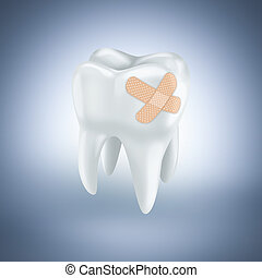 Tooth with plaster on light blue background