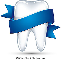 Tooth with ribbon vector icon isolated on white background.