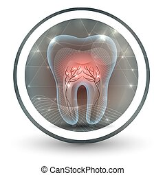 Tooth with roots abstract bright icon design