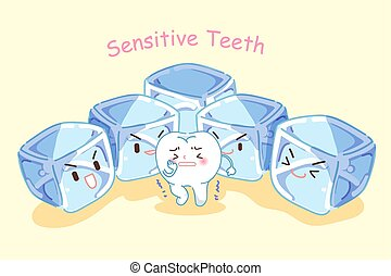 tooth with sensitive problem - cute cartoon tooth feel...