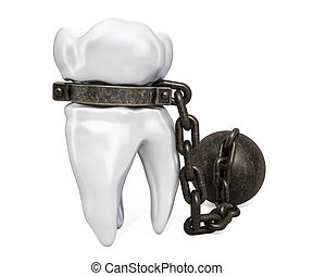 Tooth with shackle, toothache concept. 3D rendering