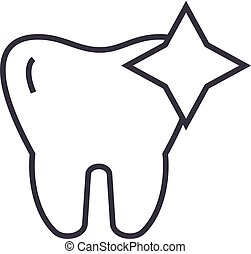 tooth with shine, cleaned teeth vector line icon, sign, illustration on background, editable strokes