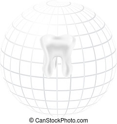 Tooth with styled globe sphere