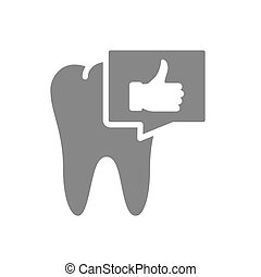 Tooth with thumb up gesture in chat bubble gray icon. Organ in the oral cavity symbol