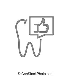 Tooth with thumb up in speech bubble line icon. Healthy organ in oral cavity symbol
