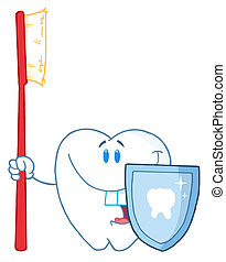 Tooth With Toothbrush And Shield