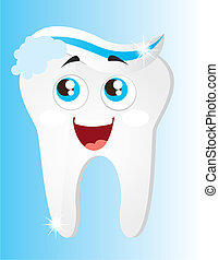 tooth with toothpaste