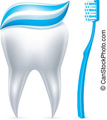 Tooth with toothpaste and toothbrus