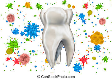 Tooth with viruses and bacteria. Caries, toothache concept. 3D rendering