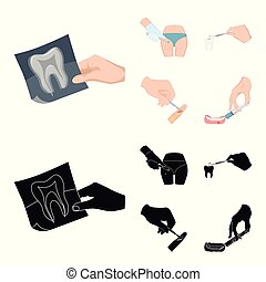 Tooth, X-ray, instrument, dentist and other web icon in...