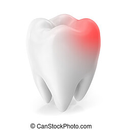 Toothache concept, caries concept isolated on white background. 3D rendering