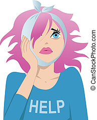 Toothache - Cute girl with pink hair holding on her cheek,...