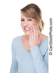 Full isolated portrait of a caucasian woman with toothache