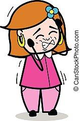 Toothache - Retro Cartoon Female Housewife Mom Vector Illustration