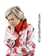 Toothache senior woman