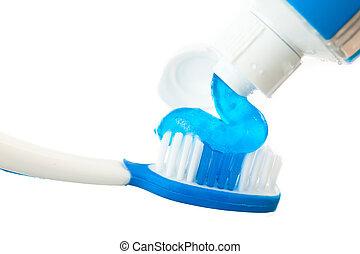 toothbr, auf, zahnpasta, schließen