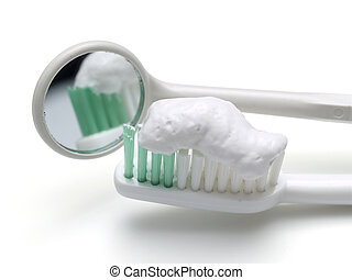 toothbrush and mirror