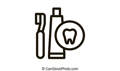 Toothbrush And Paste Icon Animation. black Toothbrush And Paste animated icon on white background