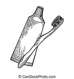 Toothbrush and toothpaste engraving vector illustration....