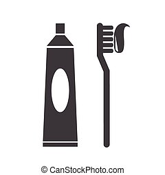 Toothbrush and toothpaste icon