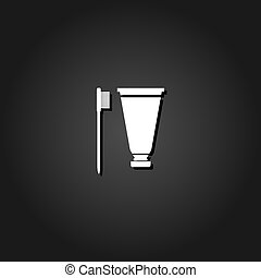 Toothbrush and Toothpaste icon flat.