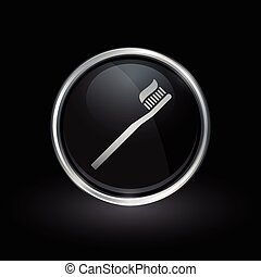Toothbrush and toothpaste icon inside round silver and black emblem