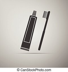Toothbrush and toothpaste icon.
