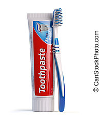 Toothbrush and tube of toothpaste isolated on white background