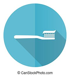 Toothbrush blue round flat design vector icon isolated on white background