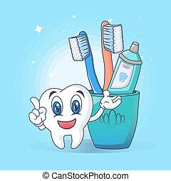 Toothbrush care fun concept banner. Cartoon illustration of toothbrush care fun concept banner for web design