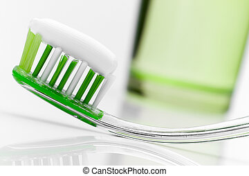 Toothbrush - Dental care equipment on white table