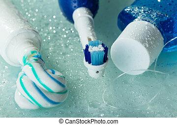 toothbrush elétrico, prateleira, vidro, molhados, mouthwash, pasta