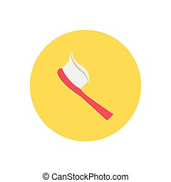 toothbrush  flat color icon