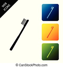 Toothbrush icon isolated. Set icons colorful square buttons. Vector Illustration