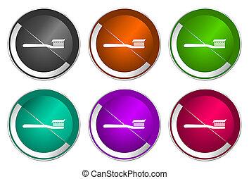 Toothbrush icon set, silver metallic web buttons