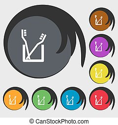 Toothbrush icon sign. Symbols on eight colored buttons. Vector