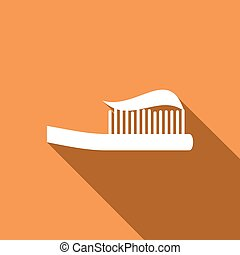 Toothbrush icon with a long shadow