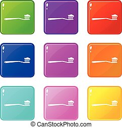 Toothbrush icons 9 set