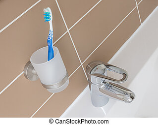 Toothbrush in a bathroom
