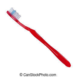 Toothbrush red color on white background.