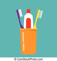 Toothbrush, toothpaste in a glass vector illustration....