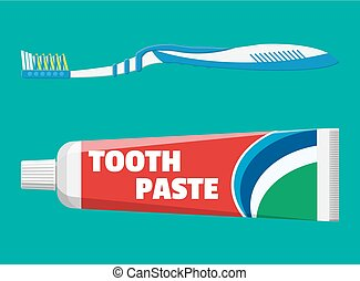 Toothbrush, toothpaste in tube. Brushing teeth. Dental...