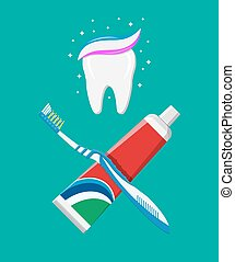 Toothbrush, toothpaste in tube. Brushing teeth. Dental...