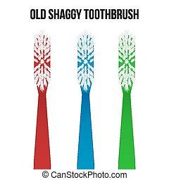 toothbrush., vecteur, vieux