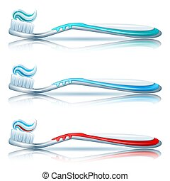 Vector illustration - toothbrush set on white background