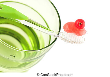 Toothbrush With Fresh Minty Toothpaste - Toothbrush with...