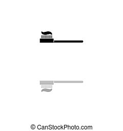 Toothbrush with Toothpaste icon flat