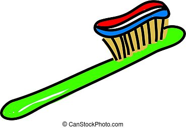toothbrush with toothpaste isolated on white drawn in toddler art style
