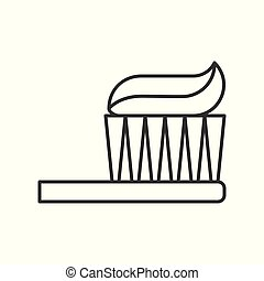 Toothbrush with toothpaste, outline icon vector illustration
