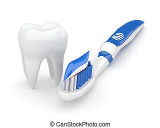 toothbrush., ząb, 3d